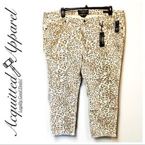 NWT Lucky Brand Ginger Leopard Print Crop Jeans